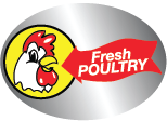 "Fresh Poultry  Red, Yellow & Black on Silver Foil  2 1/8"" x 1 1/2""  1000 per roll"
