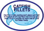"Catfish Fillets  Blue on White  2 1/8"" x 1 1/2""  250 per roll"