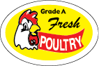"Young and Tender Chicken Satisfaction Guaranteed  Yellow, Red and Black on White  2"" x 1 1/2""  1000 per roll"