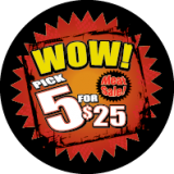 "WOW Pick 5 for $25  Red, Yellow & Black  2 3/4"" circle  500 per roll"