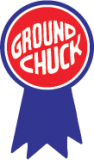 "Ground Chuck  Red & Blue on White  1 1/2"" x 2 1/2""  1000 per roll"